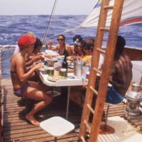 Picture of the 1973 Acali raft that crossed the Atlantic with eleven people onboard in a controversial scientific experiment in human behavior. From the documentary film The Raft directed by Marcus Lindeen.